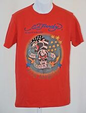 Ed Hardy Death or Glory Red Womens Large L Sequin Graphic 100% Cotton T Shirt