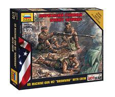 Z7414 US MACHINE GUN M2 BROWNING WITH CREW - ZVEZDA - HOT WAR - 1/72
