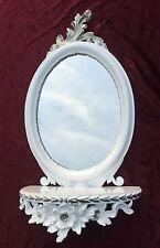Espejo de Pared Blanco Plata Barroco con consola antiguo 48x25 OVALADO CP91