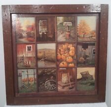 Vintage Beautifully Rustic Framed 12 Panel Pane Picture Prints by B Mitchell