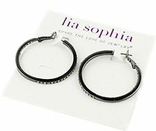 16DW Lia Sophia Jewelry Standing Ovation Pierced Hoop Earrings Hematite RV$68