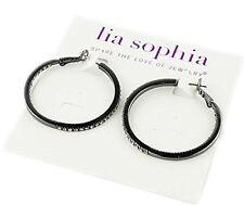 16DW Lia Sophia Jewelry Standing Ovation Pierced Hoop Earrings Hematite RV$68