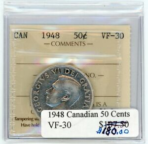 1948 Canada Fifty Cents Key Date - ICCS VF-30 - Cert#UB755