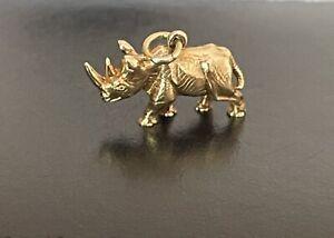 9ct Gold Vintage Rhino Charm Pendant