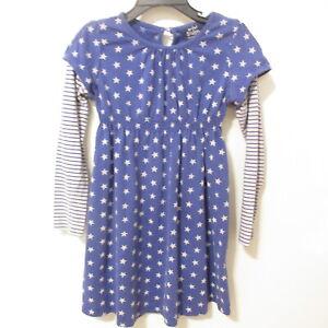 Mini Boden Girls 4 - 5 Y Layered Sleeves Purple & Gray Stars & Stripes