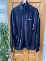 Adidas Originals Black Faux Velvet / Suede Velour Track Jacket Size XL RARE