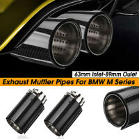 2X 63mm-93mm Rear Exhaust Pipe Trim Muffler Tip Carbon Fiber For BMW M Series