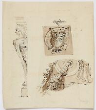 DESSIN XVIIIème FEUILLE D'ETUDE 3 fragments architecture cariatide métope parure