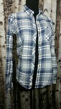 ABERCROMBIE AND FITCH Womens White and BLUE Flannel PLAID TOP SIZE XSmall