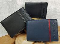 Vintage Rindsleder Herren Ledergeldbörse Klein Brieftasche Portemonnaie RFID