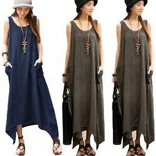 UK 8-24 ZANZEA Women Oversized Sleeveless Tunic Baggy Long Maxi Vest Dress Robe