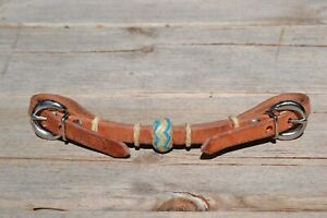 Jose Ortiz Harness Rawhide Knot Double Buckle Curb Strap w/Turquoise Details