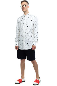 RRP €440 DSQUARED2 Canvas Shirt Size 50 / L Embroidered Two Tone Long Sleeve