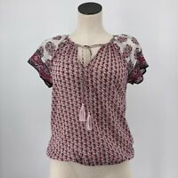 Soft Joie Top Short Sleeve Tassel Tie Front Floral Pink White Size XS