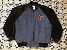 NFL Chicago Bears Soft Leather Black Blue 2 Toned Jacket Coat Size Large