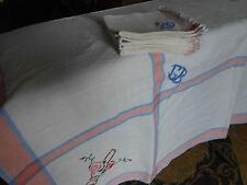nappe ancienne 125x150cm et 6 serviettes monogramme GE+ broderie point de croix