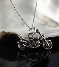 "Sterling Silver 925 Jewellery Motorbike Pendant 18/20"" Chain Necklace Gift Box"