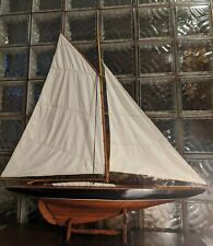 """Gorgeous Vintage Hollow Wood Pond Yacht model display sailboat. Brass 42""""x 41"""""""