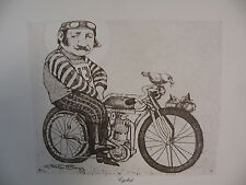 "Art print Charles Bragg black Lithograph gp ""The cyclist"" Duotone Signed"