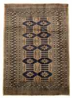 "Vintage Hand-Knotted Carpet 4'3"" x 5'10"" Traditional Oriental Wool Area Rug"