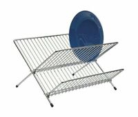 Chrome Foldable Dish Drainer Kitchen Sink Plate Cups Dry Rack Washing Up Small