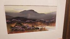 Lovely Framed Gouache Painting Depicting Moorland Landscape Signed Carlisle v3