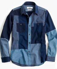 NWT JCREW $429 FDMTL™ boro shirt SizeM In Indigo G2282