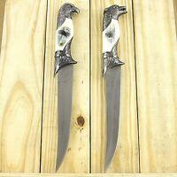 """2 PC WOLF & EAGLE HEAD 13"""" DAGGER KNIFE SET w/ COLLECTOR'S SHEATH Fantasy Steel"""