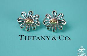 Tiffany & Co. 18K Gold &Silver Paloma Picasso Daisy Flower Earrings w/Omega Back