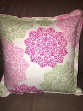 Tommy Hilfiger Hibiscus Hill Throw Pillow Square Pink Green Embroidered Design