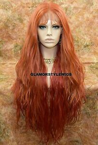 "42"" HUMAN HAIR BLEND 3 WAYS PART LACE FRONT FULL WIG LONG COPPER AUBURN RED MIX"