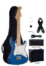 """Raptor Blue 31"""" Mini ST Kid's Electric Guitar w/ 5 Watt Amp, Bag, Strap, Pick"""