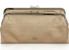ANYA HINDMARCH LUCE CLUTCH BAG DUAL FRAME GOLD TEXTURED