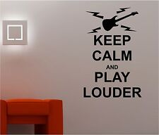 KEEP CALM & PLAY LOUDER music wall art sticker quote decal bedroom lounge