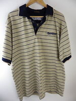 Amakhala Game Reserve t shirt Size L large polo shirt brown blue striped Africa