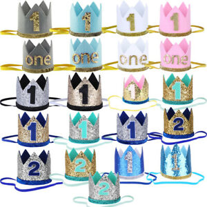 Baby Girl Boy 1st 2nd Birthday Shiny Crown Tail Headband Cake Smash Photo Prop