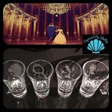 Personalised Beauty & The Beast Disney Shot Glasses Set Of 4! Birthday Hen Gift