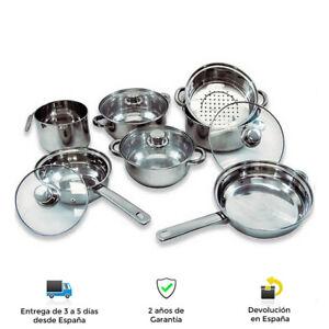 Batería de cocina 11 piezas de acero inoxidable con tapas de vidrio