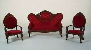 Miniature Dollhouse - Red Victorian Sofa & Chair Set - Wood 1:12 Scale