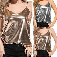 Women Summer Leather Shiny Liquid Wet Look V-Neck Vest Cami Tank Tops Clubwear