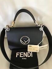 FENDI KAN I LOGO Bag~BLACK Calfskin Leather~Two Interchangeable straps MSRP$2350
