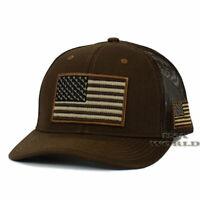 USA AMERICAN Flag Hat Tactical Military Cap Mesh Snapback Baseball Cap- Brown