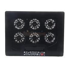 """12""""-17"""" Laptop USB LED Light 6 Fan Air Cooling Cooler Pad Adjustable Stand Black"""