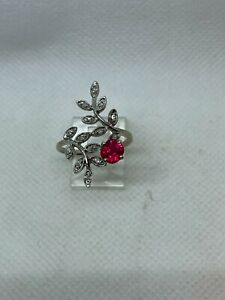 Beautiful Vintage Ladies 14k Custom Made Fusion Ruby Diamond Leaf Ring Not Scrap