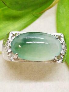 Icy Ice Green Natural Jadeite Jade Ring/冰种绿飘花马鞍天然翡翠戒指