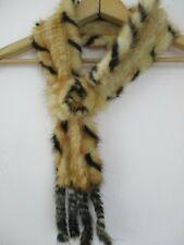 Vintage fur collar stole black white woven knit 1920 1940