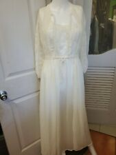 Vintage  LONG Chiffon Nightgown &Robe Set /PSet Size 32 SMall Ivory Color