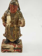 CHINESE POLYCHROME WOOD CARVED GIFT BEARER