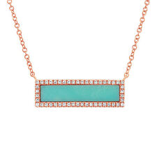 1.17TCW 14K Rose Gold Turquoise Natural Diamond Rectangular Bar Pendant Necklace