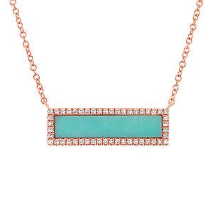 Turquoise Diamond Pendant 14k Rose Gold Pave Rectangle Necklace 1.17tcw